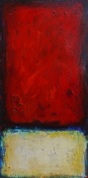 At Last, acrylic and collage on canvas, 36 x 18,