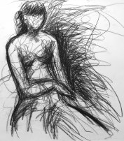 """figure study, charcoal on paper, 24 x 18"""" - SOLD"""