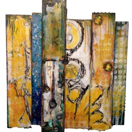 "Bravely Done - collage, oil and encaustic on wood, 36 x 32"" - SOLD"