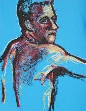 "figure study, oil stick on toned paper, 25 x 19"""