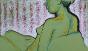 "figure study, oil stick on toned paper, 15 x 19"""
