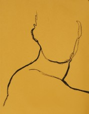 """figure study, oil stick on toned paper, 25 x 19"""" - SOLD"""