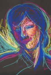"head study, pastel on paper, 25 x 19"""