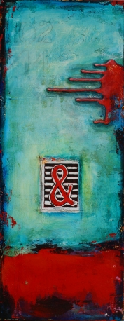 Melt with You, acrylic and relief print on canvas, 30 x 12 --SOLD