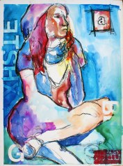 """""""Misty I,"""" ink and oil pastel on paper, 22 X 30"""" - SOLD"""