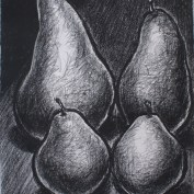The Four of Us, charcoal on paper, 30 x 22""