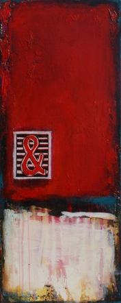 """The Way You Make Me Feel , acrylic and relief print on canvas, 30 x 12"""" - SOLD"""