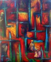 "XYZ (Ode to Motherhood), mixed media on canvas, 28 x 22"""