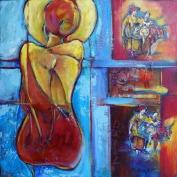 """Ou est la joie de vivre?, mixed media on canvas, 24 x 24"""" - SOLD"""