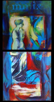 """She Comes from Texas, mixed media on panels, each panel 12 x 12"""""""
