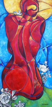 """The Secret, acrylic and collage on canvas, 48 x 24"""" - SOLD"""