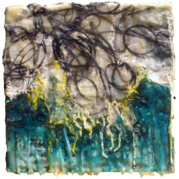 And the Rain Washed it Away, collage, charcoal, encaustic on panel, 8 x 8""